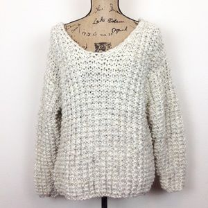 Chunky Hand Knit Off the Shoulder Sweater- N705